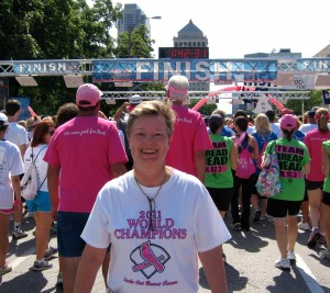Diane Radford at Komen St Louis 2012 finish line