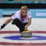 Feb 12, 2014; Sochi, RUSSIA; Anna Sloan (GBR) in the women's curling round robin session 4 during the Sochi 2014 Olympic Winter Games at Ice Cube Curling Center. Kyle Terada-USA TODAY Sports